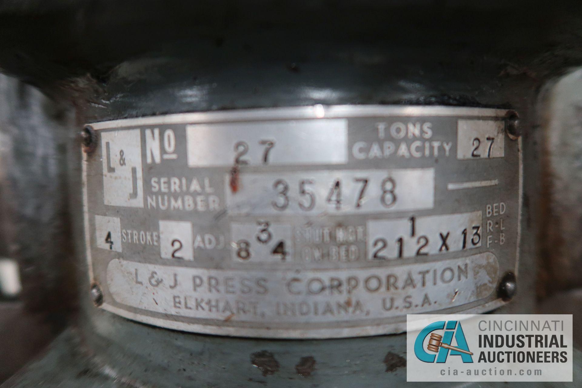 "27 TON L&J NO. 27 BACK GEARED OBI PRESS; S/N 35478, 4"" STROKE, 2"" ADJUST, 8-3/4"" SHUT HEIGHT ON BED, - Image 9 of 9"