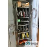 (LOT) MISCELLANEOUS SIZE BAND SAW BLADES WITH STORAGE CABINET