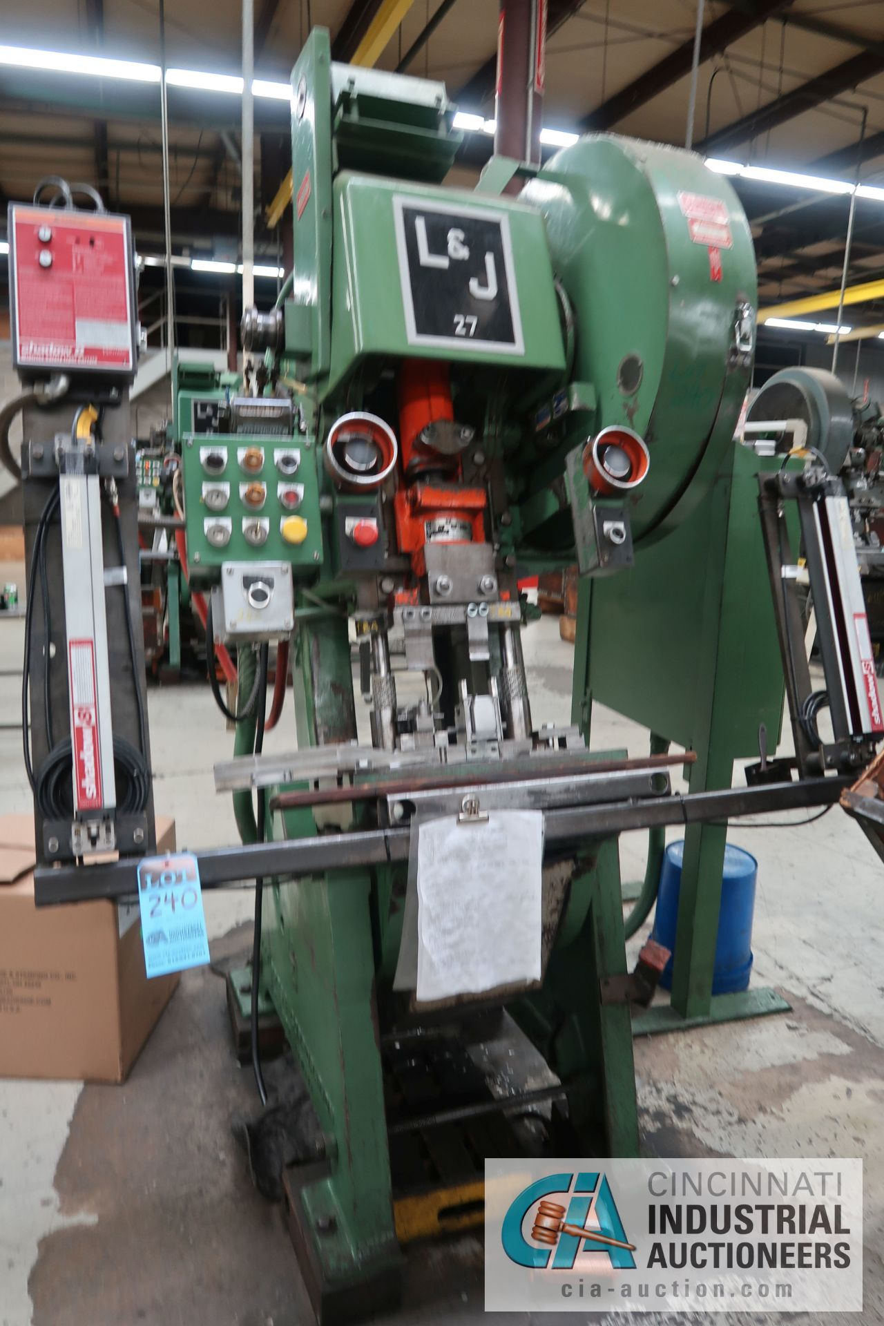 "27 TON L&J NO. 27 FLYWHEEL TYPE OBI PRESS; S/N 35792A, 4"" STROKE, 2"" ADJUST, 9-1/2"" SHUT HEIGHT ON"