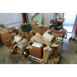 (LOT) CONTENTS OF (4) SKIDS & CART INCLUDING MACHINE PARTS, TOOLING, HARDWARE, WIRE & HOSE