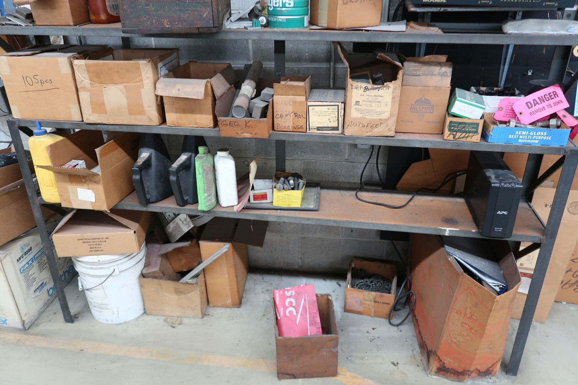 (LOT) CONTENTS OF RACK AGAINST WALL INCLUDING HARDWARE, TOOLS, ELECTRICAL PARTS (NO SOUND SYSTEM) - Image 2 of 6