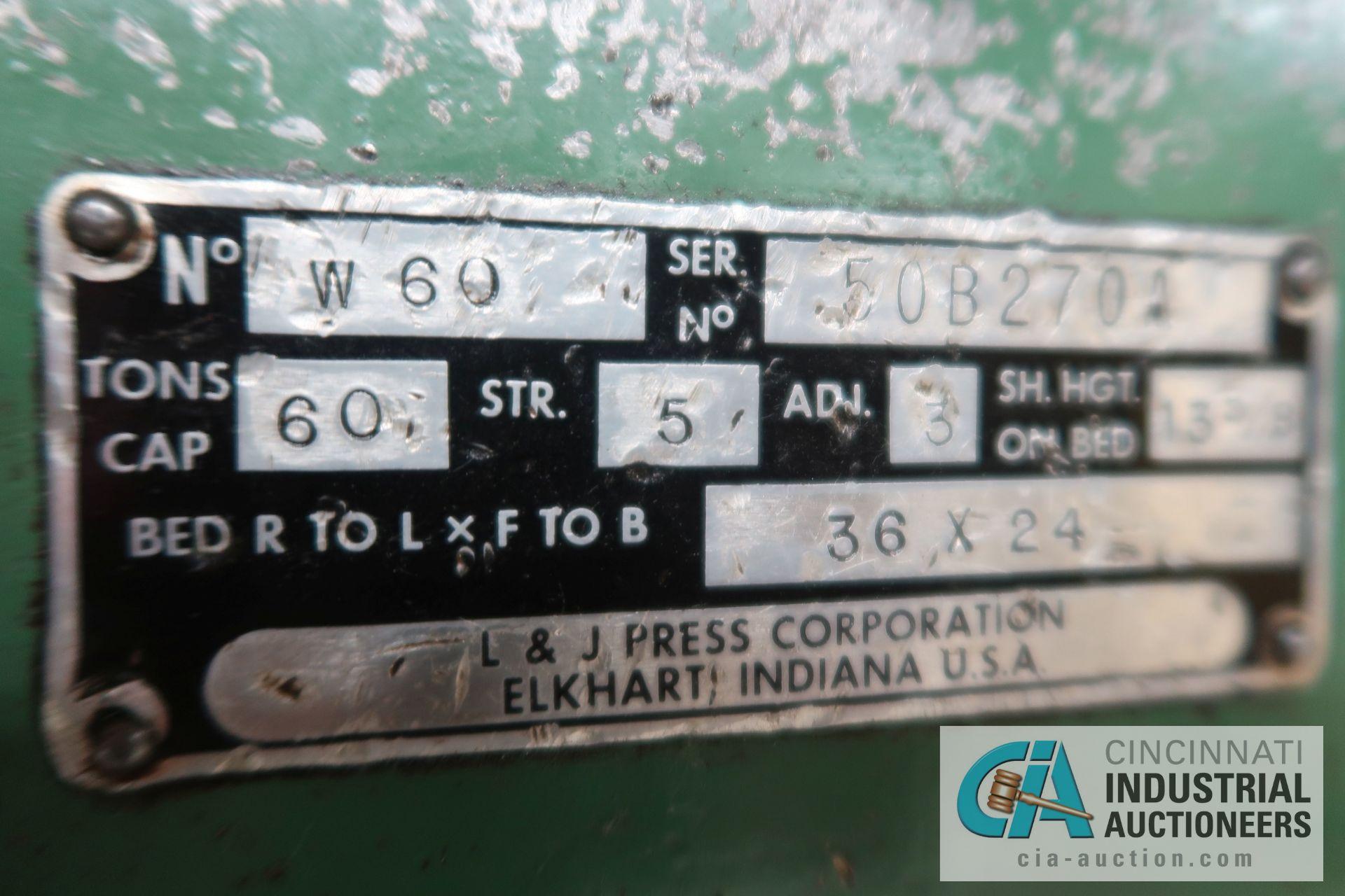 """60 TON L&J MODEL W-60 FLYWHEEL TYPE OBI PRESS; S/N 50B270A, 5"""" STROKE, 3"""" ADJUST, 36"""" X 24"""" RIGHT TO - Image 8 of 8"""