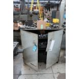 (LOT) TWO-DOOR STEEL CABINET W/ MISC. TOOLING & HOLD DOWNS