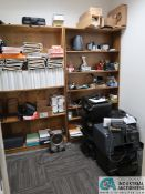 CONTENTS OF OFFICE SUPPLY ROOM INCLUDING PRINTERS, PAPER, PRINTER SUPPLIES, FOLDERS AND SUCH