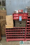 40-COMPARTMENT PIGEON HOLE HARDWARE CABINET WITH MISCELLANEOUS HARDWARE