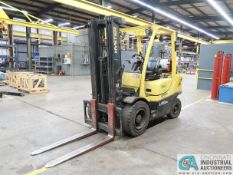 """6,000 LB. HYSTER H60FT SOLID TIRE LP GAS LIFT TRUCK; S/N P177V02840N, 3-STAGE MAST, 88"""" MAST HEIGHT,"""