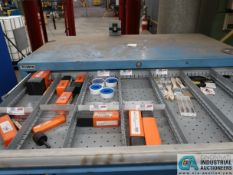 CONTENTS OF LISTA CABINET INCLUDING TOOLING, GRINDING, MATERIAL, TAPE, BATTERIES, CARBIDE INSERTS,
