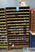 120-COMPARTMENT PIGEON HOLE HARDWARE CABINET WITH MISCELLANEOUS HARDWARE