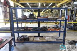 8' X 2' X 6' HIGH HEAVY DUTY STEEL RACK WITH MISCELLANEOUS WELDING, TOOLING, HOSE, AND V-BLOCKS