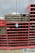 9-COMPARTMENT PIGEON HOLE HARDWARE CABINET WITH MISCELLANEOUS HARDWARE AND 32-DRAWER HARDWARE