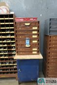 8-DRAWER HARDWARE CABINET AND 1-DOOR CABINET WITH MISCELLANEOUS HARDWARE