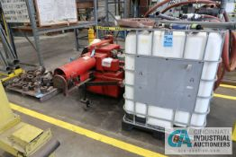 AW DYNAMOMETER MODEL IND300 DYNAMOMETER; S/N 320456, WITH MISCELLANEOUS HEADS AND WATER SUPPLY TANK