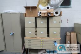 """(LOT) (6) SAFCO 15"""" X 15"""" X 38"""" CABINETS, (1) 5-DRAWER FLAT MATERIAL CABINET, STAND, MISCELLANEOUS"""