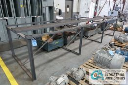 """(LOT) PARTS STORAGE SYSTEM WITH 278"""" X 60"""" X 42"""" HIGH RACK AND (5) PORTABLE WOOD BINS"""