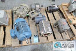 (LOT) ASSORTED ELECTRIC MOTORS ON SKID, (1) 10 HP, (2) 3 HP, (2) 2 HP, (1) 5 HP AND (1) 1 HP