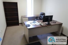 (LOT) CONTENTS OF OFFICE INCLUDING (2) DESKS, BOOKSHELF, (3) CHAIRS **NOTHING ATTACHED TO WALLS**