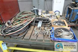 (LOT) WELDING SUPPLIES INCLUDING GROUND LEADS, POWER LEADS, FACE SHIELDS, REGULATORS, C-CLAMPS,