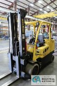 12,000 LB. HYSTER MODEL S120FT-PRS LP GAS CUSHION TIRE LIFT TRUCK; S/N G004V06863K, 2-STAGE MAST,