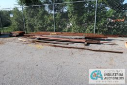 (LOT) ASSORTED STEEL BAR, ANGLE AND FLAT STOCK ON GROUND