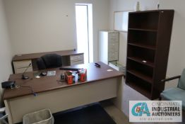 (LOT) CONTENTS OF OFFICE INCLUDING (2) DESKS, FILE CABINETS, BOOKSHELF, (3) CHAIRS **NOTHING