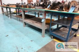 (LOT) HEAVY DUTY STEEL TABLES AND CART **DELAYED REMOVAL - PICKUP ON 9-16-20**