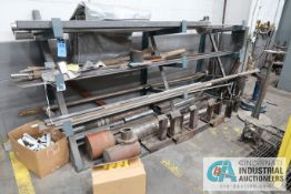 (LOT) STEEL RACK WITH ASSORTED STEEL CUT-OFFS AND STANDS ON FLOOR