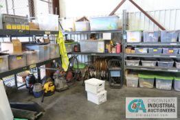 (LOT) REMAINING CONTENTS OF CAGE INCLUDING VACS, TOWEL DISPENSERS, WIRE, STRAPS, HARDWARE, (3)