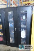 2-DOOR GLOBAL CABINET WITH CONTENTS INCLUDING TAPE, GLOVES, PROTECTIVE CLOTHING
