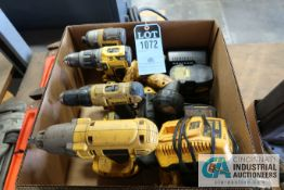 MISC. CORDLESS TOOLS INCLUDING DRILLS, LIGHT & CHARGERS