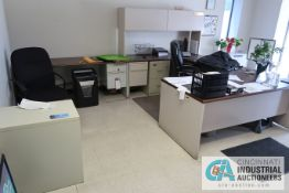 (LOT) CONTENTS OF RECEPTION AREA INCLUDING (2) DESKS, (2) CABINETS, LOBBY TABLE AND (2) CHAIRS, (
