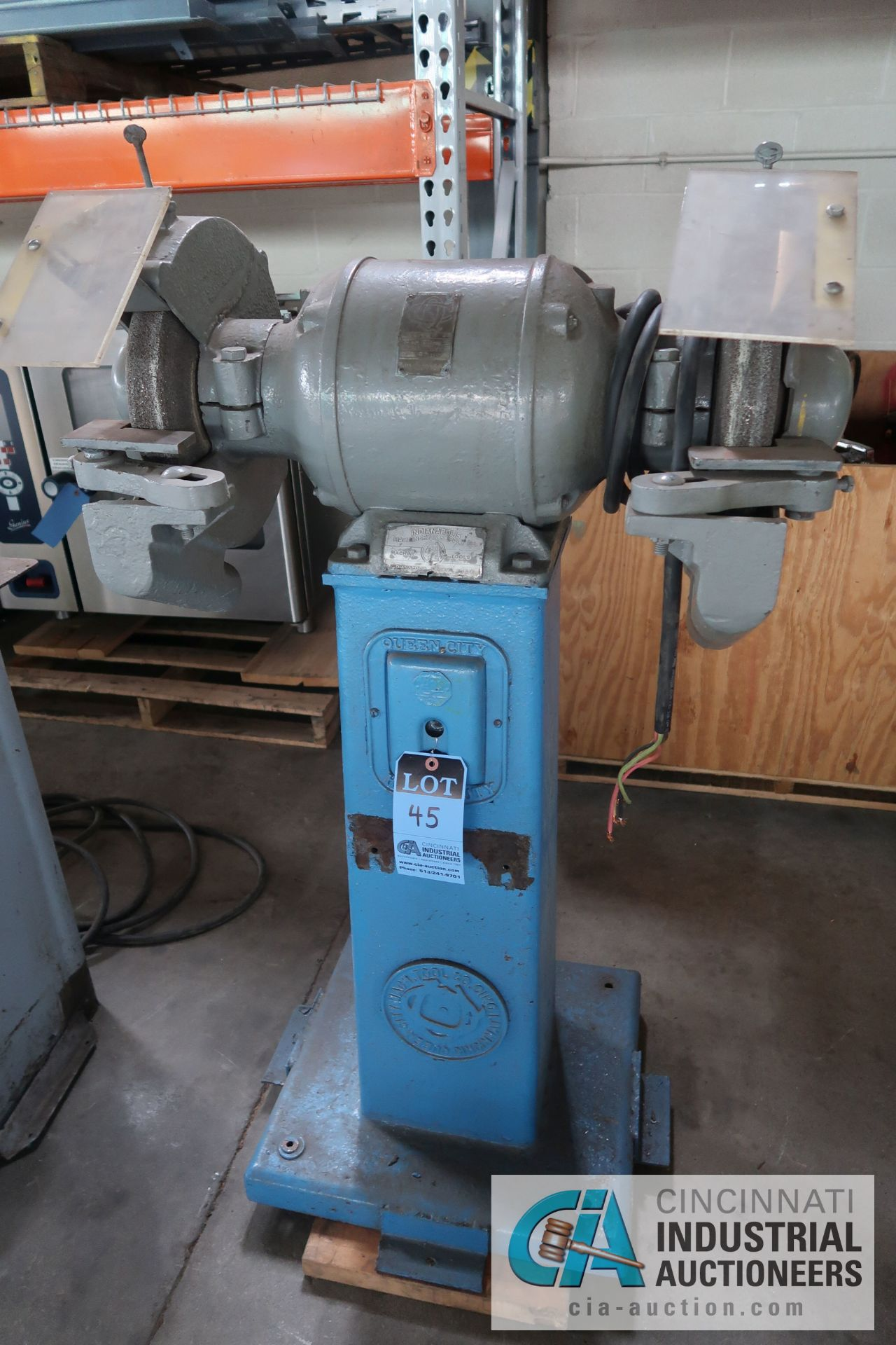 """10"""" QUEEN CITY MACHINE TOOL MODEL 4-F DOUBLE END STAND MOUNTED GRINDER; S/N 302890"""