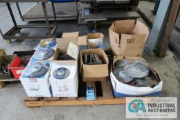"""SKID MISCELLANEOUS NEW AND USED 9"""" AND 6"""" ABRASIVE GRINDING WHEELS WITH 4"""" WIRE WHEELS"""