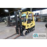 7,000 LB. HYSTER MODEL S70FT LP GAS CUSHION TIRES TWO-STAGE MAST LIFT TRUCK; S/N H187V02305N, 122""
