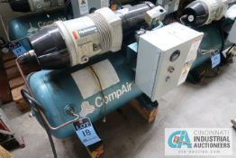 2 HP COMPAIR MODEL 10 PURS HORIZONTAL TANK AIR COMPRESSOR; S/N 010-000689, 3 PHASE, 230 VOLTS, HOURS