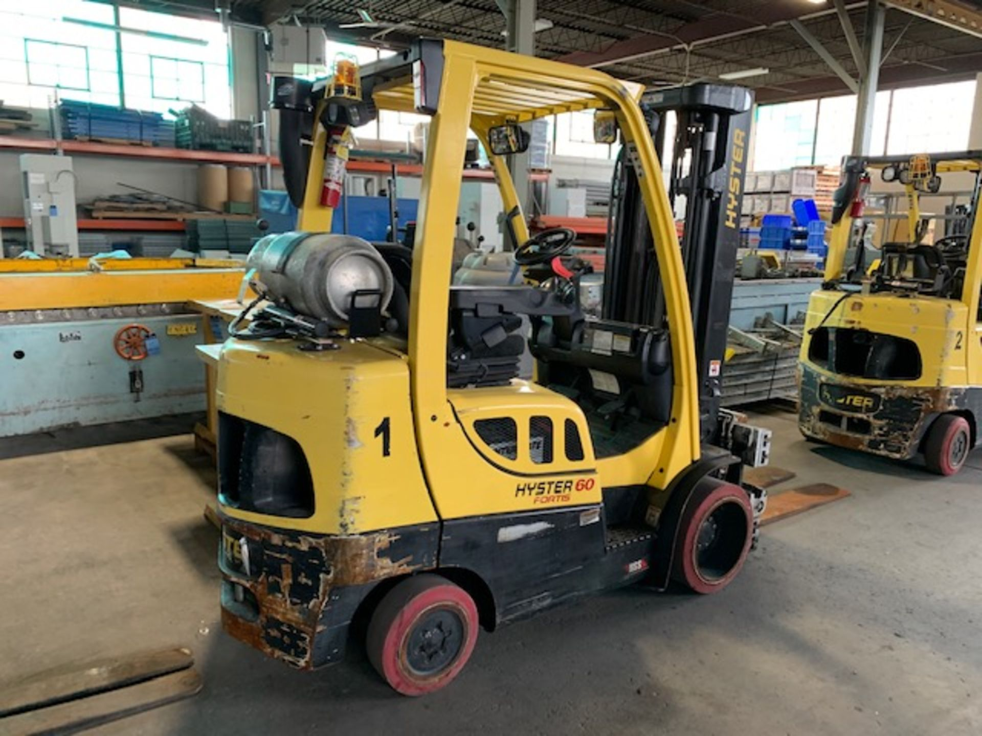 5,000 LB. HYSTER MODEL S50FT LP GAS CUSHION TIRE LIFT TRUCK; S/N F187V25800M - Image 3 of 12