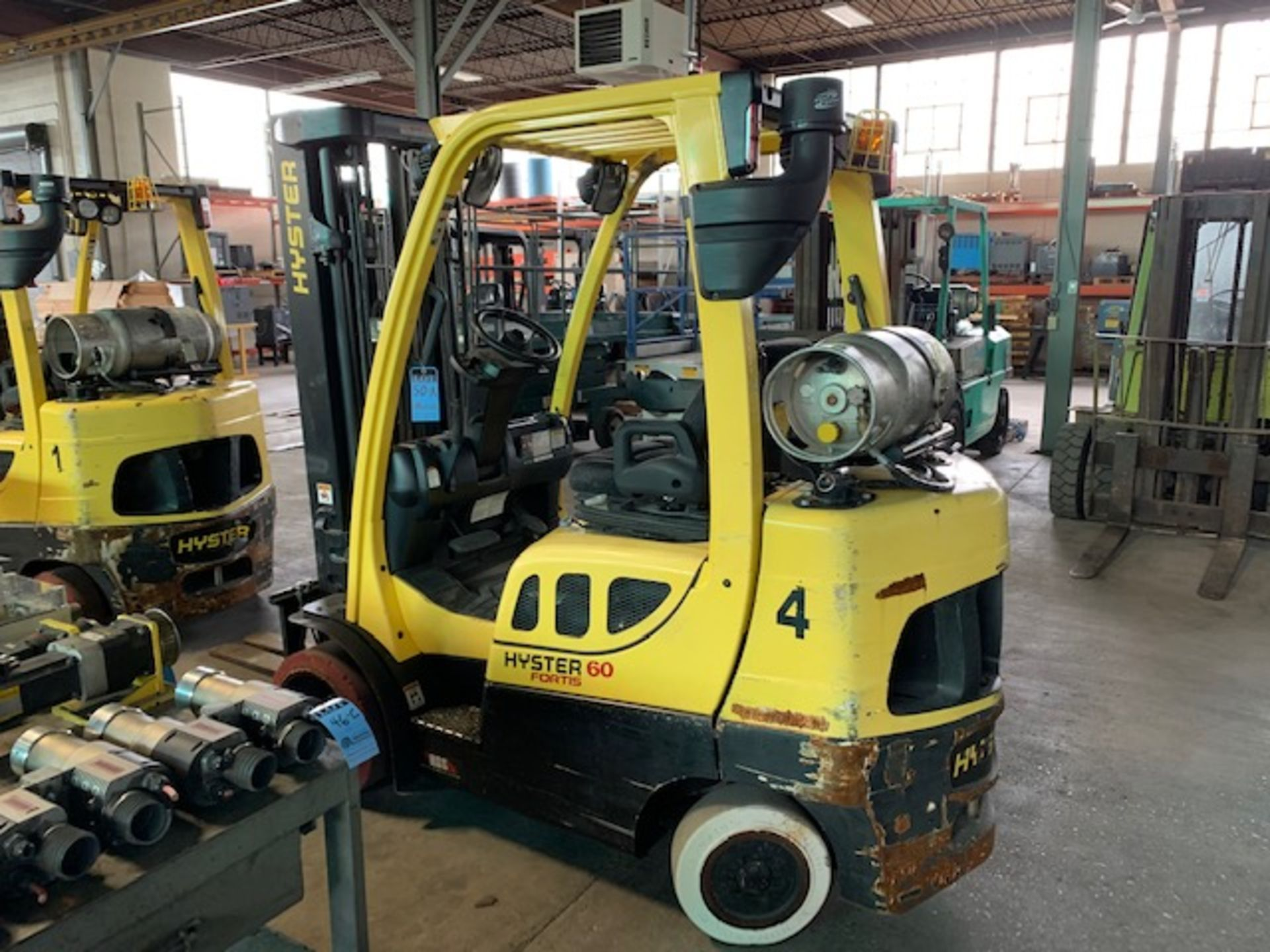 5,000 LB. HYSTER MODEL S50FT LP GAS CUSHION TIRE LIFT TRUCK; S/N F187V25798M - Image 4 of 11