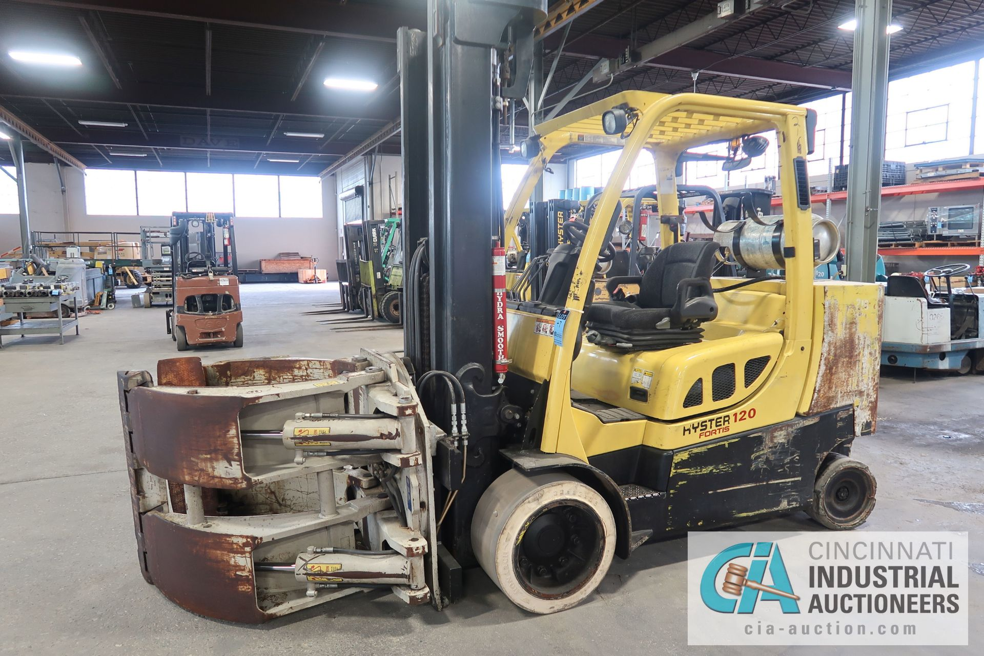 12,000 LB. HYSTER MODEL S120FT-PRS LP GAS CUSION TIRE THREE-STAGE MAST LIFT TRUCK; S/N