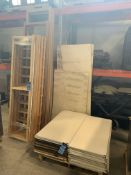 (LOT) WOOD SHELVING, APPROX. (19) 7'-9' UPRIGHTS AND (30) SHELVES