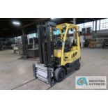 5,000 LB. HYSTER MODEL S50FT LP GAS CUSHION TIRE THREE-STAGE MAST LIFT TRUCK; S/N G187V01914M,