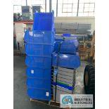 "(LOT) 1-SKID MISCELLANEOUS PLASTIC TUBS, (13) QUANTUM QUS954, (8) 18"" X 15"" X 13"", (17)"