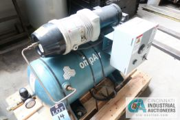 2 HP COMPAIR MODEL 10 PURS HORIZONTAL TANK AIR COMPRESSOR; S/N 010-002194, 3 PHASE, 230 VOLTS, HOURS