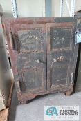 "31"" X 40"" X 56"" HIGH ANTIQUE TWO-DOOR PORTABLE COMBINATION STEEL SAFE **LOCKED CLOSED - NO COMBINAT"