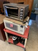 (LOT) OFFICE CAFETERIA EQUIPMENT, (1) MICROWAVE, TOASTER OVEN, COFFEE MAKER, KEURIG, CROCK POT