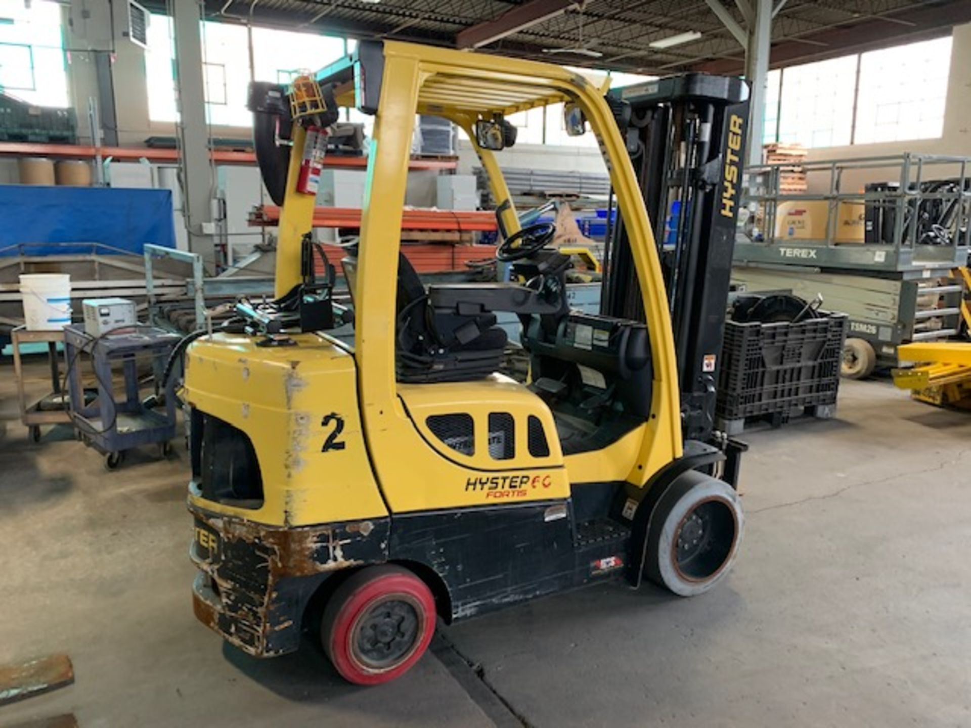 5,000 LB. HYSTER MODEL S50FT LP GAS CUSHION TIRE LIFT TRUCK; S/N F187V25799M - Image 3 of 10