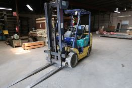 **5,000 LB. KOMATSU MODEL G25ST-12 LP GAS SOLID TIRE TOW STAGE MAST LIFT TRUCK; S/N 500768A, 128""