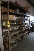 (LOT) MISCELLANEOUS HARDWARE WITH HEAVY DUTY STEEL SHELVING