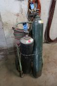 OXY-ACETYLENE CART WITH HOSE, GAUGES AND TORCH **NO TANKS**