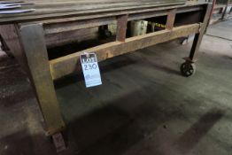 "59"" X 62"" X 28"" HIGH SHOP BUILT PORTABLE WELDED STEEL TABLE **NO CONTENTS** **DELAY REMOVAL - PICK"