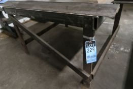 "48"" X 48"" X 31"" HIGH SHOP BUILT WELDED STEEL TABLE **NO CONTENTS** **DELAY REMOVAL - PICK UP 9-23-"