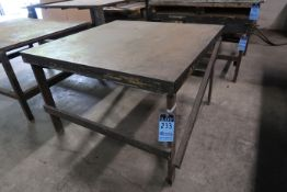 "48"" X 48"" X 32"" HIGH SHOP BUILT WELDED STEEL TABLE"